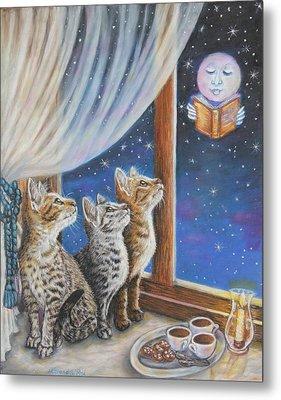Cat Painting - Moon Tales Metal Print