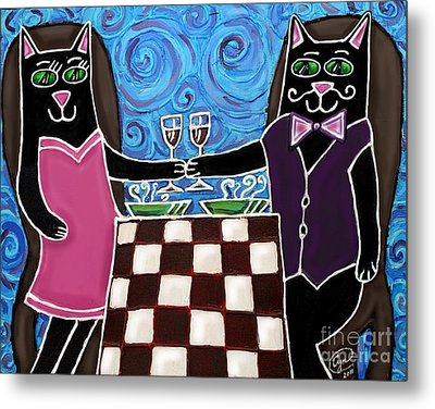 Metal Print featuring the painting Cat Romance by Cynthia Snyder