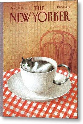 Cat Sits Inside A Coffee Cup Metal Print