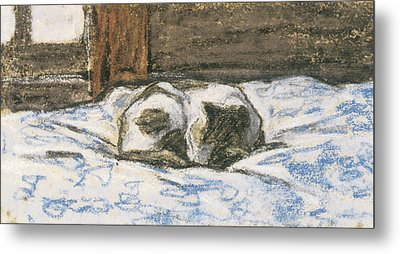 Cat Sleeping On A Bed Metal Print by Claude Monet