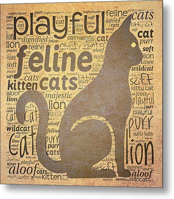 Cat Typography Metal Print