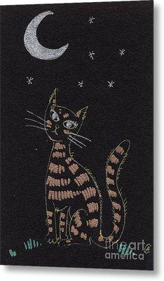 Cat Under The Moonlight Metal Print by Angel  Tarantella