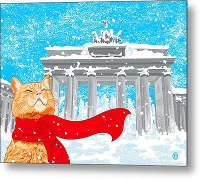 Cat With Scarf Metal Print by Carolina Matthes