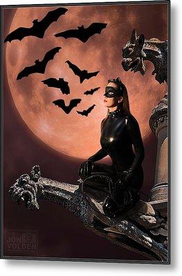Cat Vs Bat Metal Print