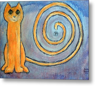 Metal Print featuring the mixed media Cat World by Kenny Henson