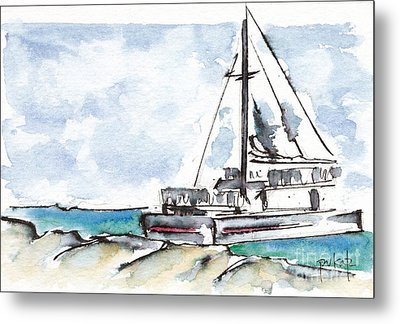 Catamaran On Fury Beach Metal Print