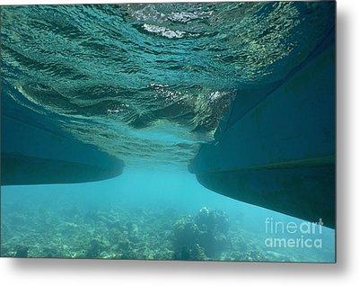 Catamaran's Hull Underwater Metal Print by Sami Sarkis