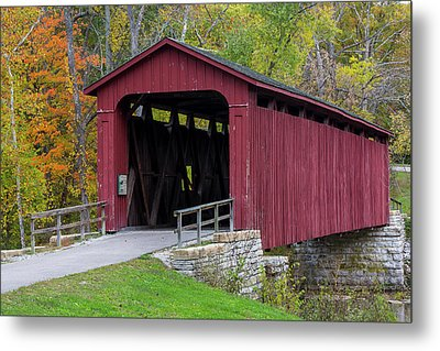 Cataract Covered Bridge Over Mill Creek Metal Print by Chuck Haney