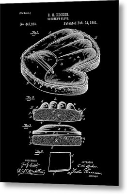 Catcher's Glove Patent 1891 - Black Metal Print by Stephen Younts
