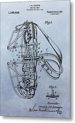 Catcher's Mask Patent Metal Print by Dan Sproul