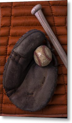 Catchers Mitt And Baseball Metal Print by Garry Gay