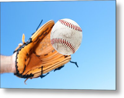 Catching A Baseball Metal Print by Joe Belanger