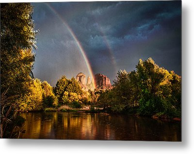 Cathedral Crossing Double Rainbow Metal Print by Linda Pulvermacher