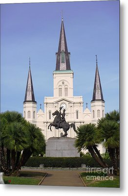 Metal Print featuring the photograph Cathedral In Jackson Square by Alys Caviness-Gober