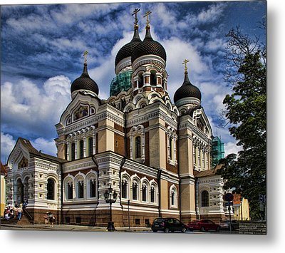 Cathedral In Tallinn Metal Print by David Smith