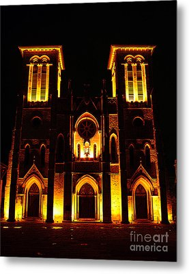 Cathedral Of San Fernando At Night In San Antonio Texas Poster Edges Digital Art Metal Print by Shawn O'Brien