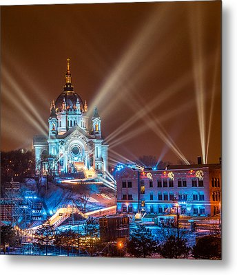 Cathedral Of St Paul Ready For Red Bull Crashed Ice Metal Print by Paul Freidlund