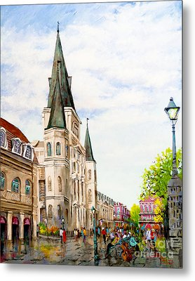 Cathedral Plaza - Jackson Square, French Quarter Metal Print by Dianne Parks