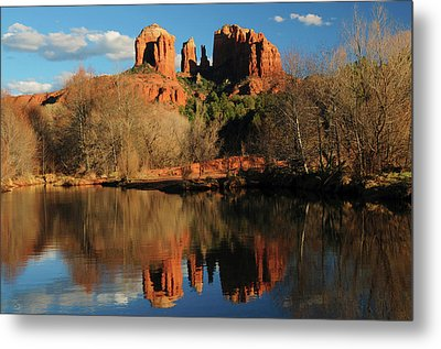 Cathedral Rock Reflections At Sunset Metal Print by Michel Hersen