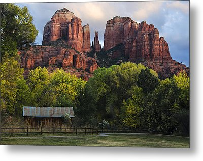 Cathedral Rock With Fall Colors And Rustic Building Metal Print by Dave Dilli