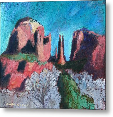 Cathedral Rock With Gray Trees Metal Print by Linda Novick