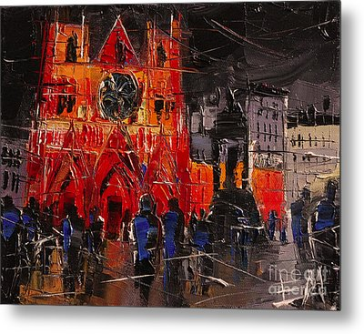 Cathedral Saint Jean-baptiste In Lyon Metal Print by Mona Edulesco