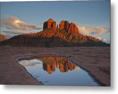 Cathedrals' Reflection Metal Print