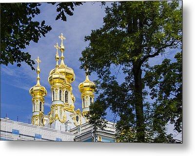 Catherine Palace  Cupolas - St Petersburg Russia Metal Print by Jon Berghoff