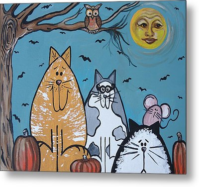 Cats And Harvest Moon Metal Print