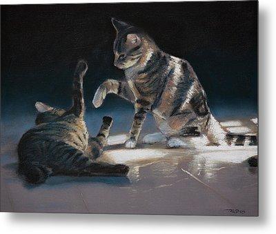 Cats Playing Metal Print