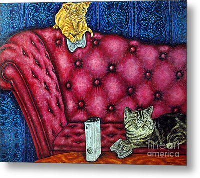 Cats Playing X Box Metal Print by Jay  Schmetz