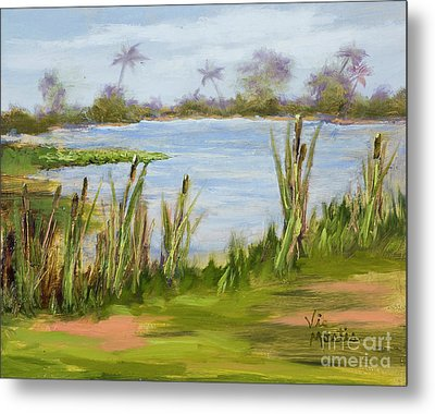 Metal Print featuring the painting Cattails And Palms by Vic  Mastis