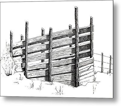 Cattle Chute Ink Metal Print