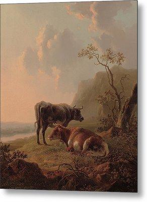 Cattle In An Italianate Landscape Metal Print