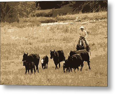 Cattle Round Up Sepia Metal Print by Athena Mckinzie