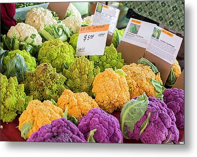 Cauliflower Market Stall Metal Print by Jim West