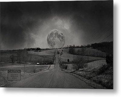 Caution Beautiful Moon Rise Ahead Metal Print by Betsy Knapp