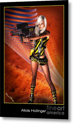 Caution Sci-fi Blonde With A Gun Metal Print by Alicia Hollinger