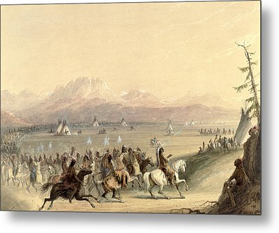 Cavalcade Metal Print by Alfred Jacob Miller