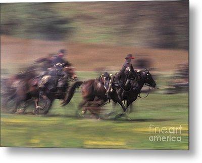 Cavalry Battle At A Civil War Metal Print by Ron Sanford