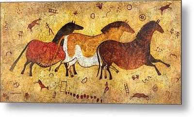 Cave Horses Metal Print by Hailey E Herrera