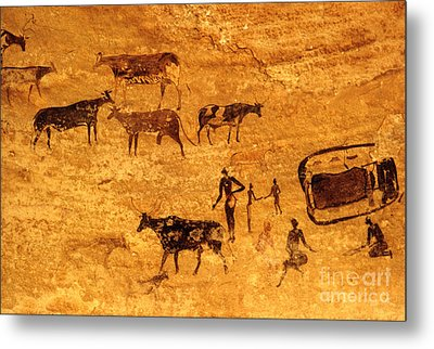 Cave Painting South Algeria Metal Print by George Holton