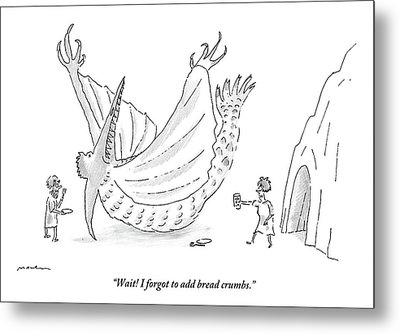 Caveman And Woman Begin To Eat A Pterodactyl Metal Print
