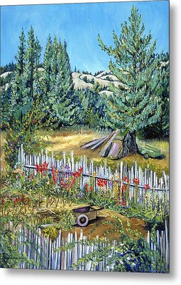 Metal Print featuring the painting Cazadero Farm And Flowers by Asha Carolyn Young