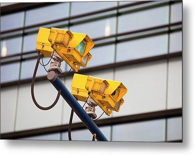 Cctv Cameras For Monitoring Traffic Metal Print