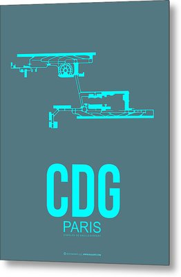 Cdg Paris Airport Poster 1 Metal Print by Naxart Studio