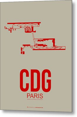 Cdg Paris Airport Poster 2 Metal Print by Naxart Studio