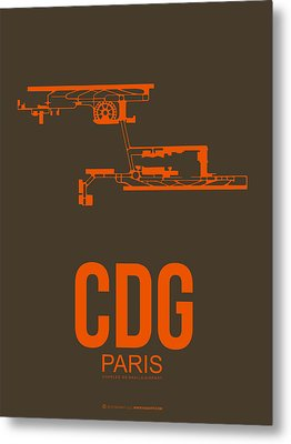 Cdg Paris Airport Poster 3 Metal Print by Naxart Studio