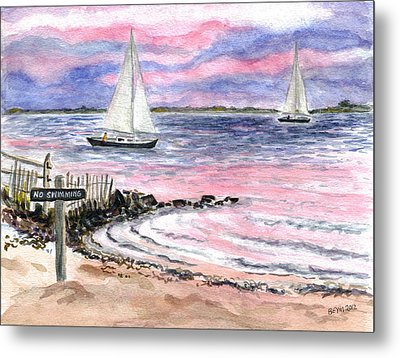 Cedar Beach Pinks Metal Print