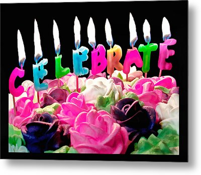 Metal Print featuring the photograph Cake Topped With Flowers And Celebrate Candles by Vizual Studio